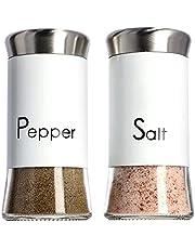 KADAX Salt- och pepparströare, set av 2, 150 ml, spridare av glas och rostfritt stål, saltskakare med mellanlock, bordsset, kryddburkar (vit)