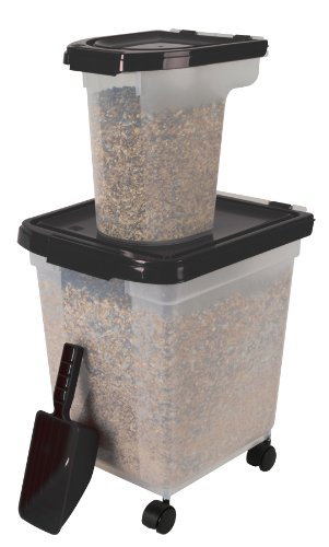 IRIS 3 Piece Airtight Bird Food Storage Combo, Black, My Pet Supplies