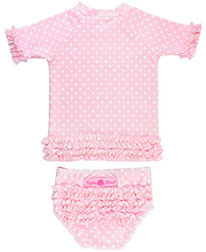 - RuffleButts Baby/Toddler Girls Rash Guard 2-Piece Swimsuit Set - Pink Polka Dot Bikini with UPF 50+ Sun Protection - 6-12m