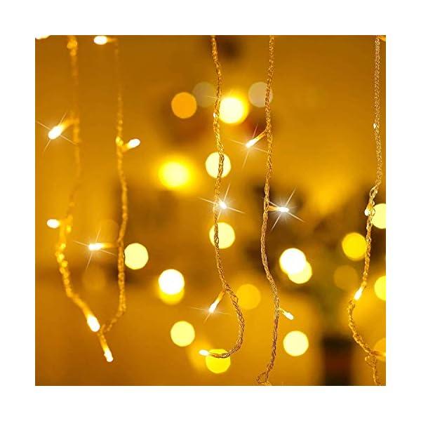 Luci Natale Esterno Cascata, BrizLabs 8.8M 360 LED Tenda Luminosa Catena Luminosa Interno Luci Stringa Decorazione Natalizie 8 Modalità con Telecomando per Casa Feste Giardino Finestra, Bianco Caldo 2 spesavip