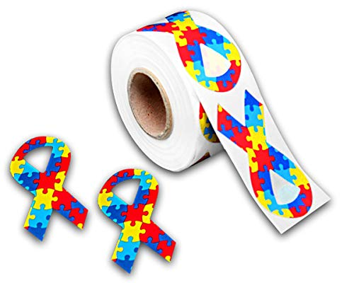 250 Autism Awareness Ribbon Stickers (250 Stickers) -