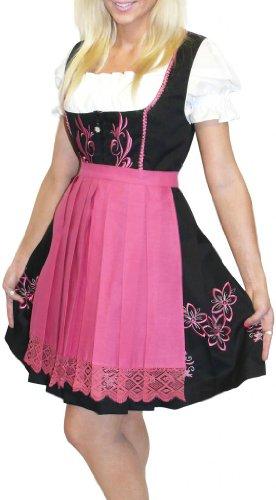 Dirndl Trachten Haus 3-Piece Short German Wear Party Oktoberfest Waitress Dress 14 44 Black Pink by Dirndl Trachten Haus