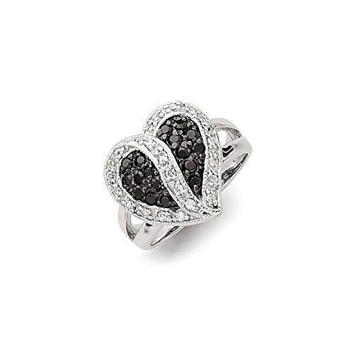 Solid 925 Sterling Silver Antiqued Black & Clear Cubic Zirconia CZ Love Heart Wedding Ring Band (3mm) ()