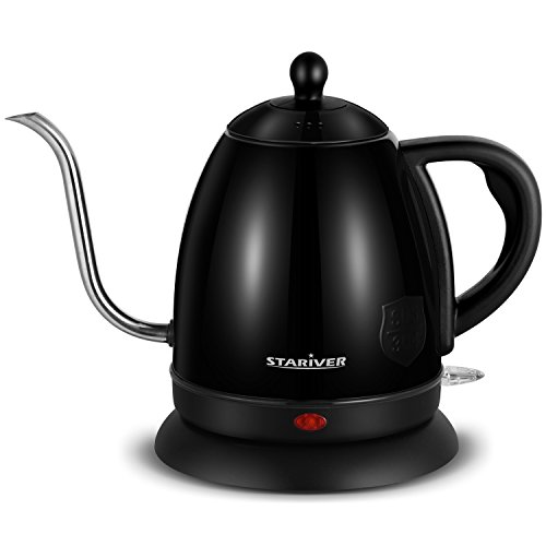 Electric Gooseneck Kettle Stainless Steel for Pour Over Coffee and Tea with Fast Boil, Auto Shut Off and Boil Dry Protection, 1 Liter, Electric Kettle (Black) - 2018 Upgraded - Stariver