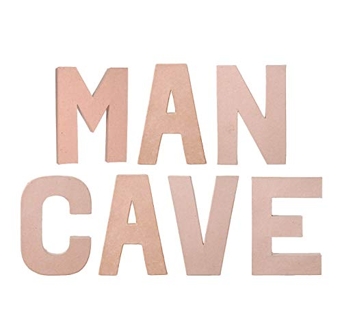 DIY Craft - Wall or Shelf Decor Project - Unfinished Paper Mache Letters Man CAVE - 7 Piece Bundle - 8 Inch Each