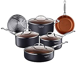 Cooksmark 10 Piece Copper Ceramic Induction Compatible Nonstick Pots And Pans Set Nonstick Induction Cookware Set With Glass Lids And Steamer Insert Dishwasher Safe Oven Safe Ptfe Pfoa Free