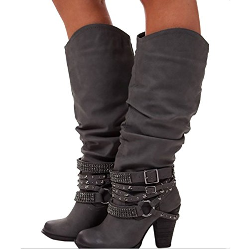 Inornever Chunky Heel Knee High Boots for Women Autumn Leather Riding Boot Outdoor Wide Calf Pull on Snow Booties Dark Grey 7 B (M) (Ultra Wide Calf Boot)