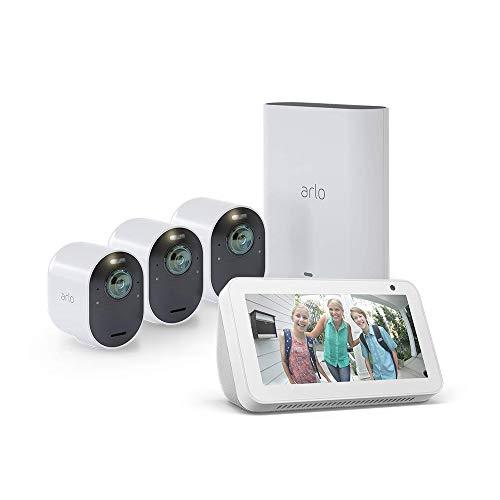 Arlo Ultra - 4K UHD Wire-Free Security 3 Camera System | Indoor/Outdoor Security Cameras with Echo Show 5 (Sandstone)