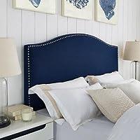 Navy Blue Full Queen Faux Linen Antique Nailhead Headboard