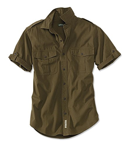 (Orvis Men's Short-Sleeved Bush Shirt, Dark Olive, Xx Large)