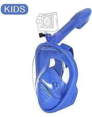 Unigear Tauchmaske, Faltbare Schnorchelmaske Tauchermaske Vollgesichtsmaske, mit Kamerahaltung, Anti-Fog Anti-Leck, für Erwachsene und Kinder