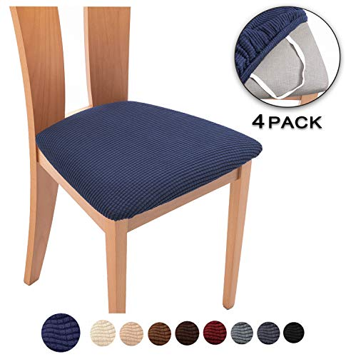 TIANSHU Spandex Jacquard Dining Room Chair Seat Covers,Removable Washable Elastic Cushion Covers for Upholstered Dining Chair (4 Pack, Navy Blue)