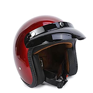 Anweer 3/4 Open Face Motorcycle Helmets DOT Approved, Retro Motorcycle Helmet, Fiberglass Moped Helmets for Adult Men Women and Child Street Bike Scooter Cruiser (M, Red)
