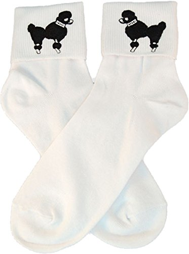 Hip Hop 50s Shop Womens Bobby Sock With Black Poodle Applique- Adult Size White with Black from Hip Hop 50s Shop