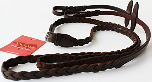 TackRus Horse English Padded Leather Braided Contest Show Rein Brown 8031020BR (Rein Leather English)