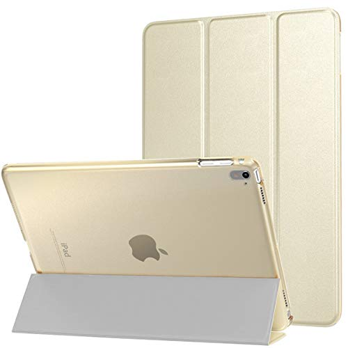 MoKo Case Fit iPad Pro 9.7 - Slim Lightweight Smart Shell Stand Cover with Translucent Frosted Back Protector Fit Apple iPad Pro 9.7 Inch 2016 Release Tablet, Gold (with Auto Wake/Sleep)