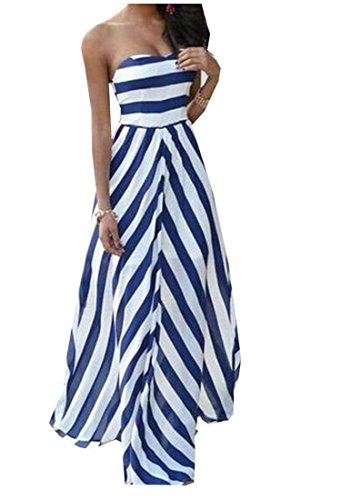 Cheap Dress For Sale (XTX Women's Skinny Floor Length Striped Strapless Maxi Dress As Picture L)