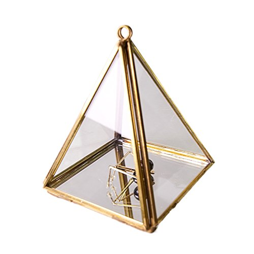 Crystal Display Box - Moosy Life Vintage Pyramid Decorative Mirror Box (Small Hanging)