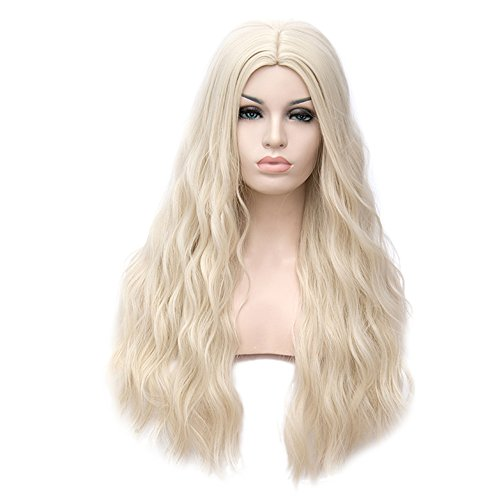 Beauty : YOURWIGS Blonde Wigs for Women Long Curly Wavy Hair Wigs Full Synthetic Wig with Wig Cap Z081C