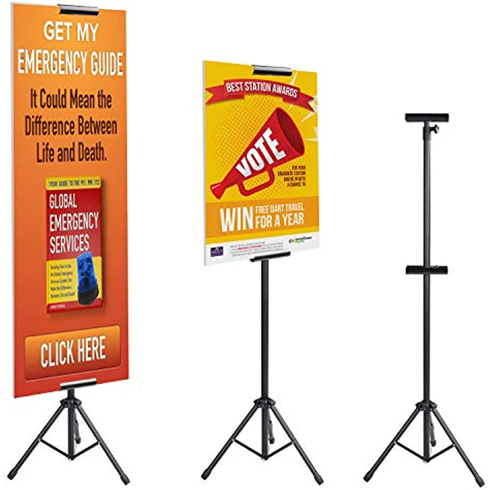 T-Sign Reinforced Block Adjustable Tripod X Banner Stand Fits Any Banner Size...