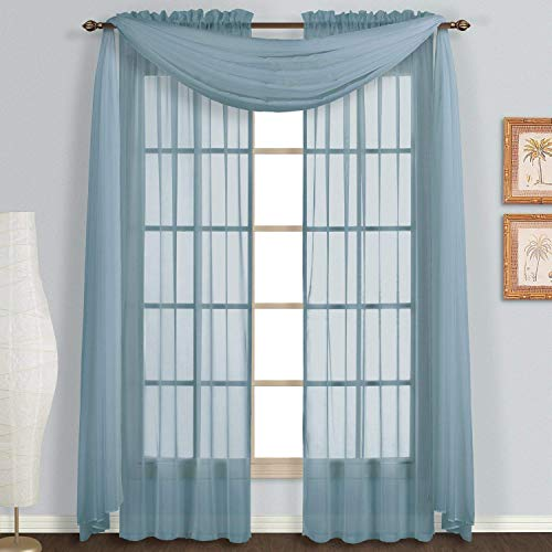 Imperium Comfort Home Wedding Decoration Solid Curtain Sheer Voile Scarf Valance for Window (1 Scarf: 54W x 144L, Slate Blue)