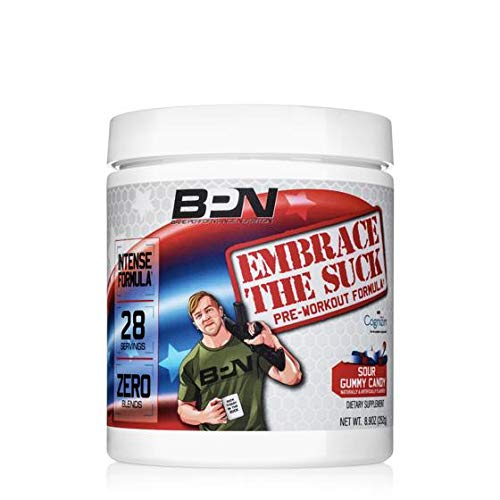 Bare Performance Nutrition, Embrace The Suck Intense Pre-Workout, Trademark Ingredients, Zero Blends, Intense Energy, Focus, Improved Concentration, Mood Attention 28 Servings, Sour Gummy Candy
