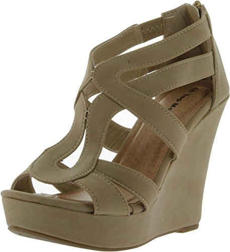 Strappy Open Toe Platform WedgeLindy-03 Beige 8