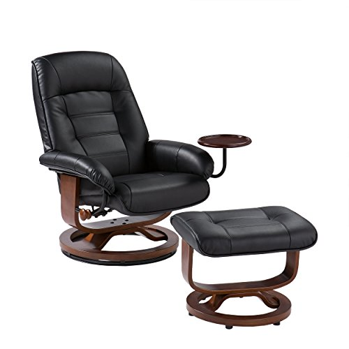 Southern Enterprises Bonded Leather Recliner and Ottoman - Black