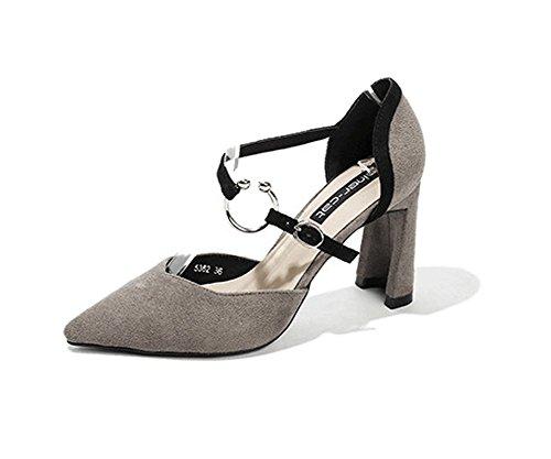 LBDX Europa y América Primavera Gruesos Tacones Altos Acentuados Zapatos de Mujer Sandalias Tacones Altos #4
