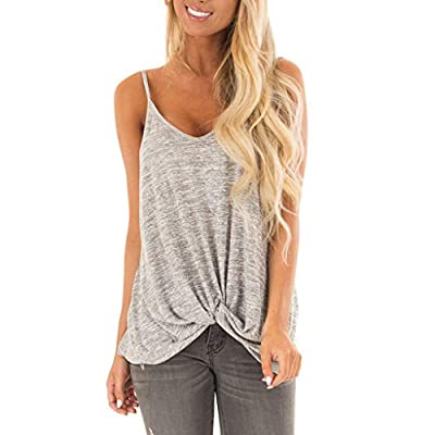 TWGONE Tunic Tank Tops for Women V Neck Knot Front Sleeveless Pure Camisole Vest Shirts