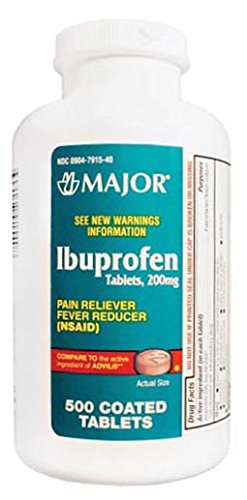 Major Pharmaceuticals 700628 Ibuprofen Analgesic Tablet, Compare to Advil, 200 mg, Brown (Pack of 500)
