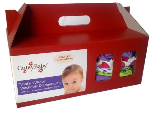 CuteyBaby 6 Pack That's a Wrap! Diapering Kit, Girl, Small by CuteyBaby