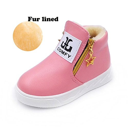 SITAILE Girl's boy's Winter Ankle Boots Warm Leather Snow Booties High Top Zipper Sneaker Shoes Pink 27