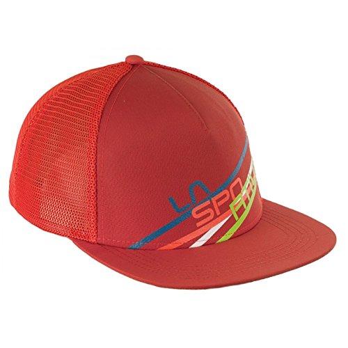 La Sportiva Trucker Stripe 2.0 Trucker Hat, Flame/Brick, L/XL Brick Mesh