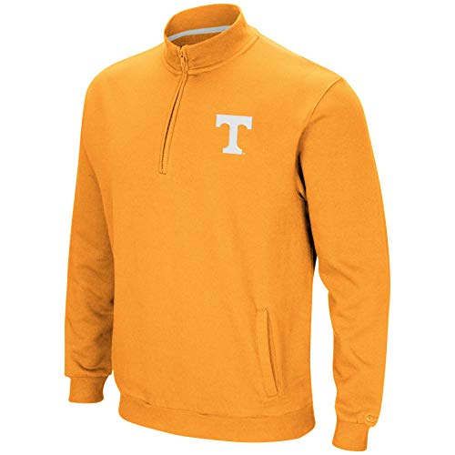 Colosseum NCAA Men's Tailgater Cotton-Poly Fleece 1/4 Zip Pullover-Tennessee Vols-Orange-Large