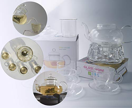 Clear Glass Teapot Set with Infuser 4 glass Tea Cups 4 Glass Saucers 1 Heart Shape Crystal Glass Warmer Base,Glass Tea Maker Teapot with Filtering, Blooming Loose Leaf tea pot by Tortoise IT (Image #4)