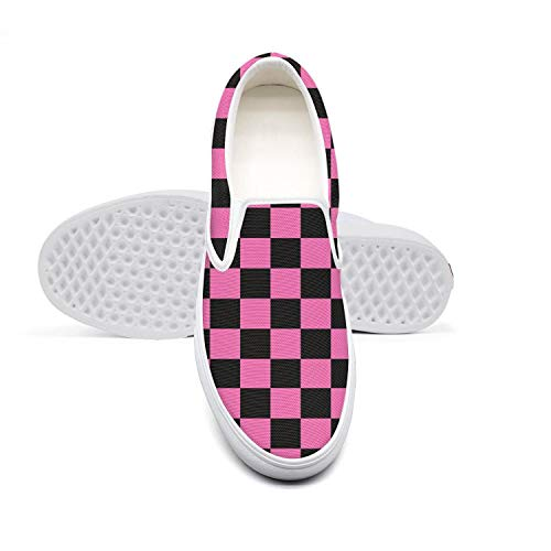 Women's Black Pink Checkered Squares Canvas One-Legged Casual Shoes Cool Breathable Sneakers]()