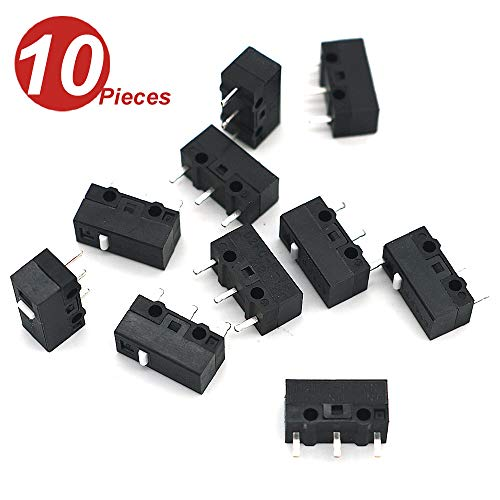 WINGONEER 10Pcs Micro Switch D2FC-F-7N 10M for Mouse Replacement Substitute -