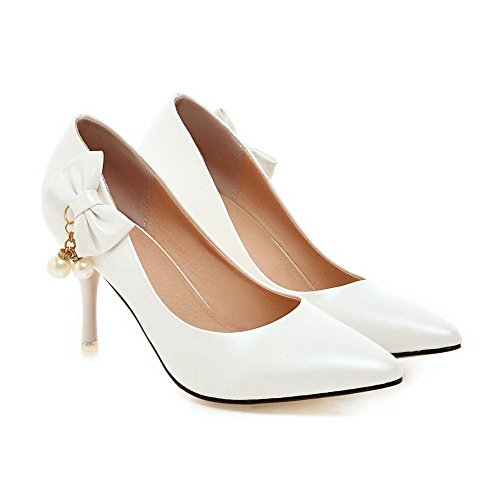Spikes On Pumps Closed Pull Women's WeiPoot Solid Pu Stilettos White Toe Pointed Shoes RvaWqtwOz