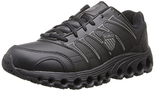 K-Swiss Women's Grancourt Tubes Slip Resistant Duty Shoe,Black/Charcoal,7.5 M US