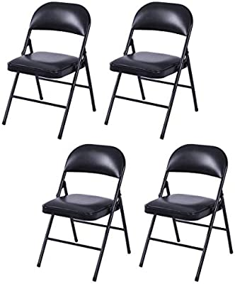 4 Pack Folding Chairs.Giantex 4 Pack Folding Chairs Upholstered Pvc Seat And Back With Metal Frame Home Office Party Use Black