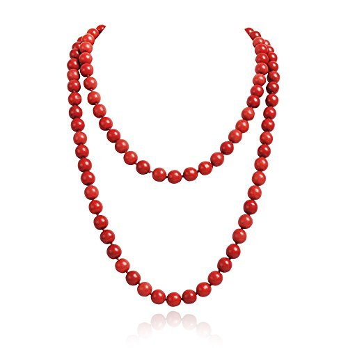 Jane Stone Red Fashion Jewelry Statement Round Beaded Collar Long Necklace for Women (Fn1273-Red)