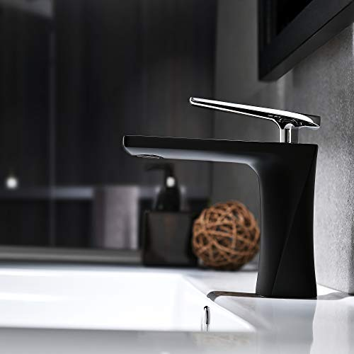 - JOMOLA Matte Black Single Handle Bathroom Sink Faucet One Hole Deck Mount Lavatory Mixer Tap Wash Basin Faucet Brass