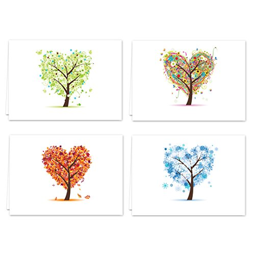 Seasons of Life Note Card Assortment Pack - Set of 24 cards - 4 designs blank inside - with white envelopes (54043) (Letters Note Cards Personalized)
