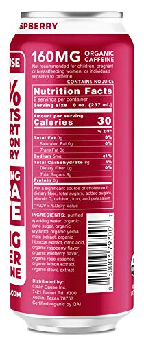 Raspberry Sparkling Yerba Mate - Organic, Low Calorie & Low Sugar (160mg Caffeine), 16oz cans, 12-pack - CLEAN Cause - 50% Profits Support Alcohol & Drug Addiction Recovery