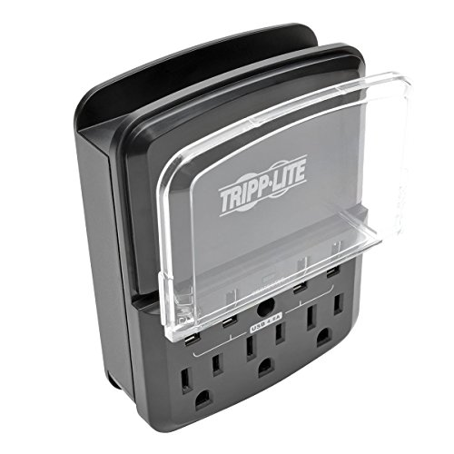 Tripp Lite 3 Outlet Portable Surge Protector Charging Station, 4 USB, $10,000 Insurance (SK34USBB)