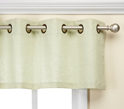 Veratex Contemporary Style Luxury 100% Linen Construction Made In The USA Grommet Fastener Style Window Valance, Sage