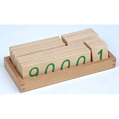 Montessori Large Wooden Number Cards with Box (1-9000): Toys & Games