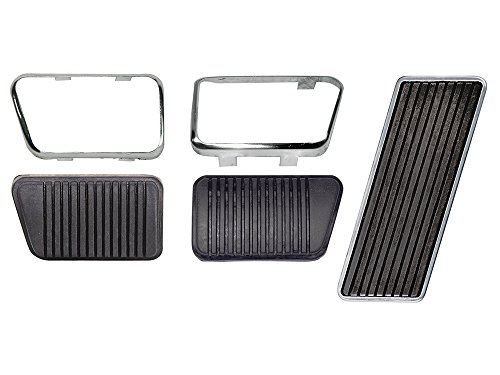 New 1966-67 Ford Mustang Fairlane Falcon Gas Drum Brake and Clutch Pedal Pads M/T with Trim (EB66MUPEDST-MTDRUM)
