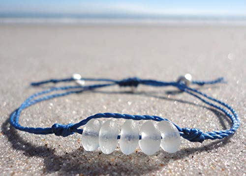Sea Glass Bead Bracelet-Made from Recycled Glass - Adjustable Waterproof Bracelet-Blue Thread-Handmade Bracelet with White Sea Glass Beads ()